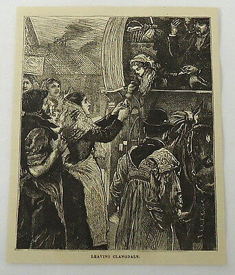 small 1880 magazine engraving ~ LEAVING CLANGDALE, girl and woman