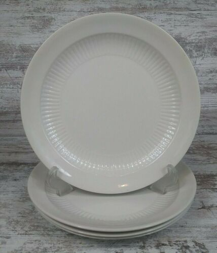 4 Nice Adams & Sons England Empress White Ironstone Dinner Plates Ribbed Detail