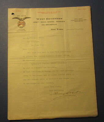 Old 1911 West Brothers National Surety Co  N Y  Letterhead   Wabash Railroad