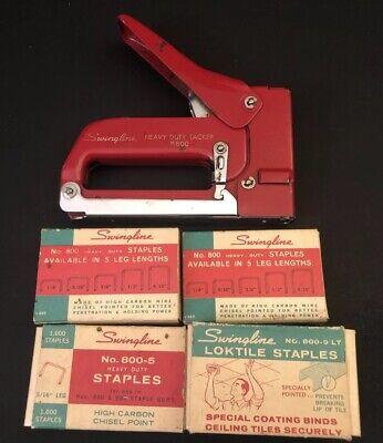 Vintage Red Swingline 800 Heavy Duty Stapler Tacker Lot Of Multi Leg Staples