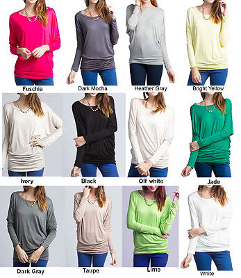 S-3XL Loose Fit Dolman Batwing Boat Neck Rayon Long Sleeves Tunic Knit Top  Batwing Sleeve Knit Top