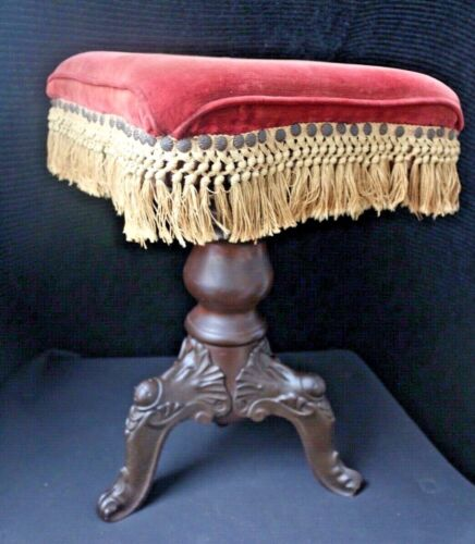 Antique Victorian Piano/Organ Stool Cast Iron/Wood Adjustable Swivel Screw Style