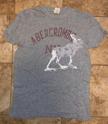Vintage Abercrombie & Fitch T-Shirt Gray Grey Moose Medium