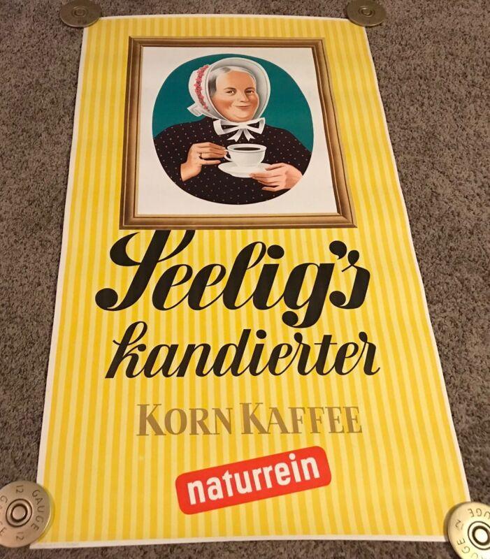 Original 1950's Seelig's Candied Grain Coffee Poster, German, Rolled, 24x41