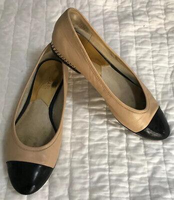 Micheal Kors Tan Black Gold Chain Leather Ballet Flats Women 8 (Micheal Kors Black Flats)