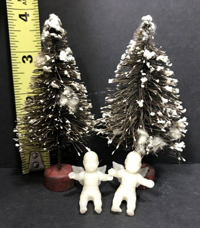 "Vintage Bottle Brush Christmas Trees 3.5"" With 2 Cherub Baby Angel Ornaments 1"""