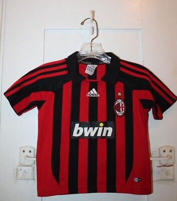 ADIDAS AC Milan Home Shirt Jersey Football Soccer Boys Large 2007 Retro Vintage