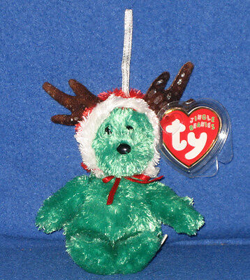 TY 2002 HOLIDAY TEDDY  the GREEN BEAR JINGLE BEANIE BABY - MINT TAGS