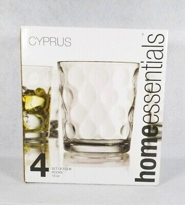 Home Essentials Cyprus Set Of Four Rocks Glasses 13Oz Old Style Whiskey Tumblers