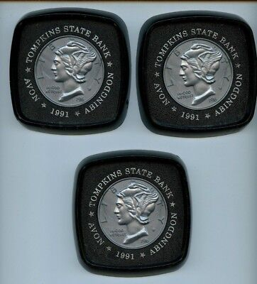 Tompkins State Bank Avon Illinois 3 Coasters 1991 Black And Silver 1916D Dime