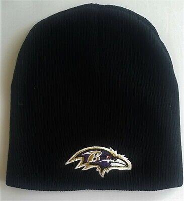 Baltimore Ravens Football Team Logo NFL Black Cuffless Beanie Knit Cap -