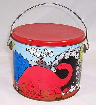 Vintage Dinosaur Candy Tin,Volcano,Cannister Pail with Handle,Truan's Candies