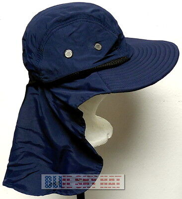 58504170447 BLUE WALKING CAMPING HIKING OUTDOOR SUN CAP HAT FLAP NECK EAR PROTECTION  UPF 50+