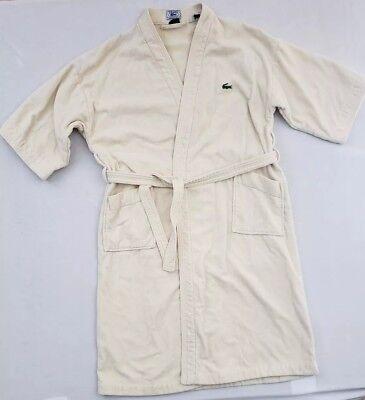 Vintage Blue Label Izod Lacoste Men's Terry Cloth House Bath Robe Ivory