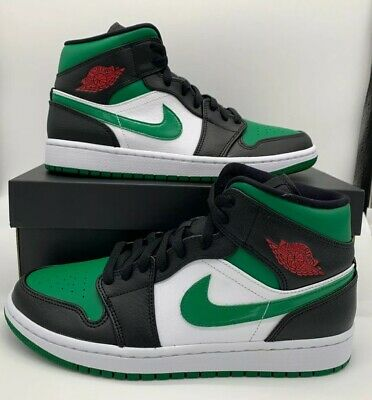 Nike Air Jordan Retro 1 Mid Pine Green Toe Gym Red Black 554724-067 AJ1 Sz