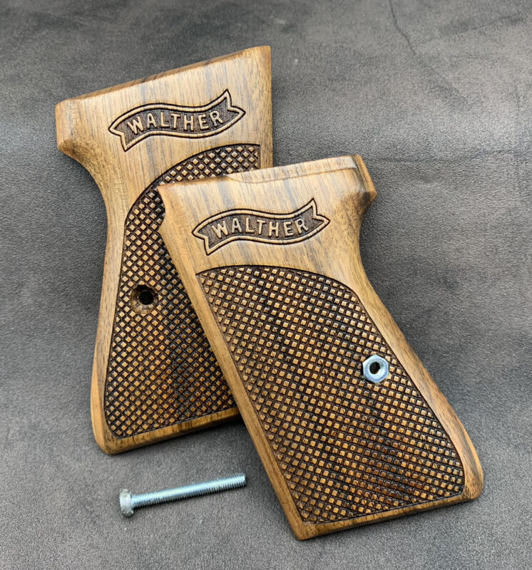 Walther PPK/S Walnut Wood Grips Set. Checkered. Handmade. * FAST USA SHIPPING *