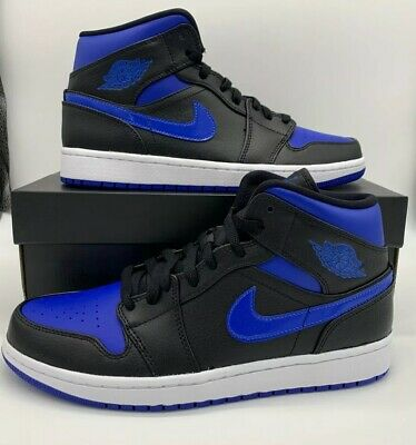 Nike Air Jordan 1 Mid Retro 554724-068 Black Hyper Royal White Mens Size