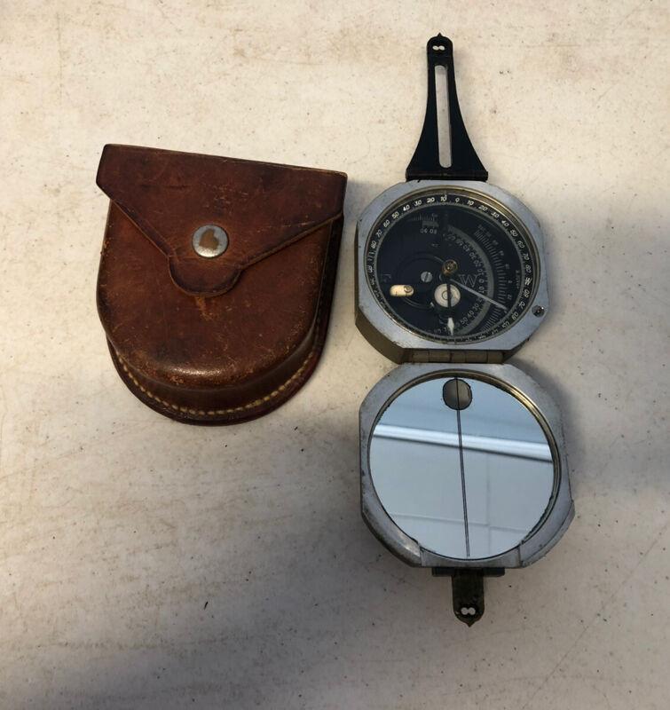 Vintage D.W. Brunton Pocket Transit / Compass with Leather Belt Case