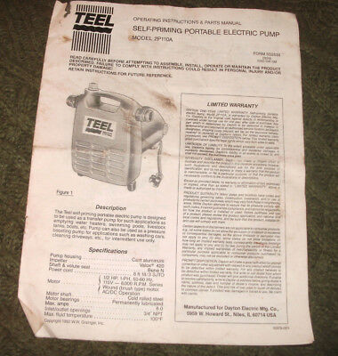 Teel Model 2p110a Self-priming Portable Electric Pump Instructions Partsmanual