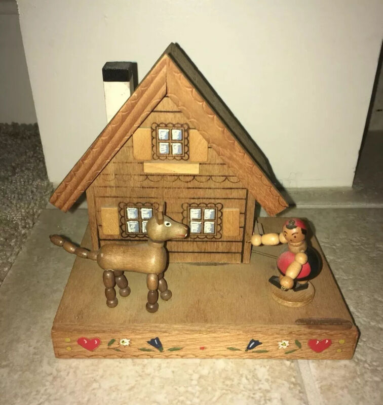 Vintage Reuge Swiss Chalet Wood Home Music Box Made In Switzerland Play Perfect