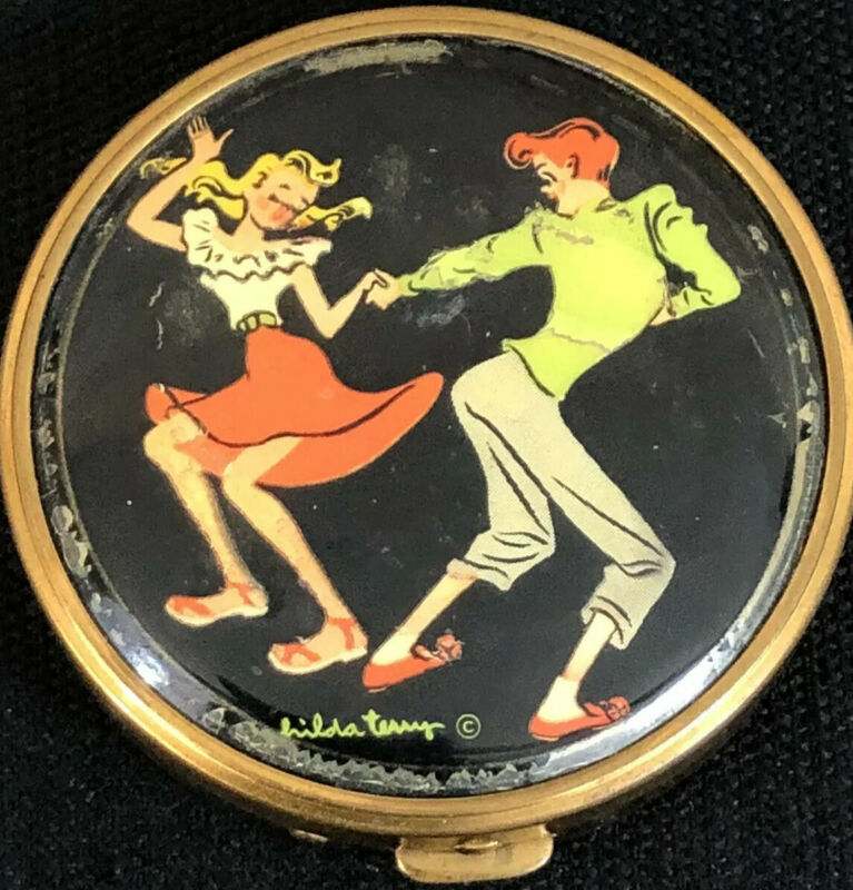 "Rex Fifth Avenue Hilda Terry ""Jitterbug"" 1950s Compact Teena Vintage Powder Case"