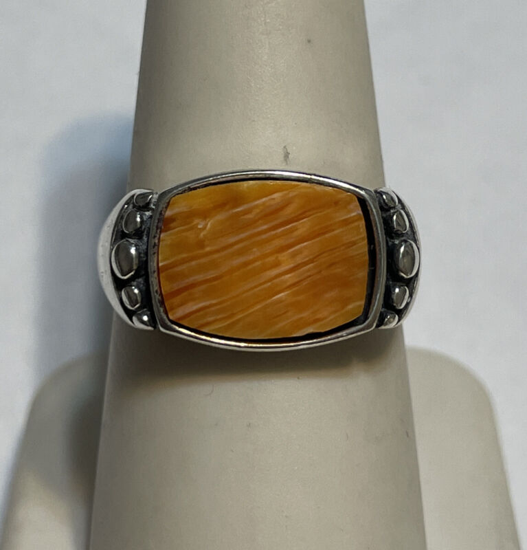 Sterling Silver WJ Waldeck Johnson Orange Spiny Oyster Ring Size 8