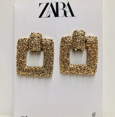 New ZARA Gold Texture Square Earrings Back Screw Clip Closure Fashion #1267
