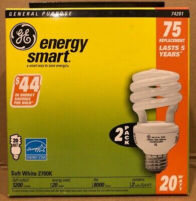 (2 BULBS) GE Compact Fluorescent, Soft White 2700k, 20 W 75 Equiv. Helical
