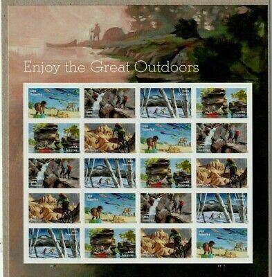 US NATURE HIKING BIKING #5475-79 ENJOY THE GREAT OUTDOORS 20 FOREVER STAMP SHEET