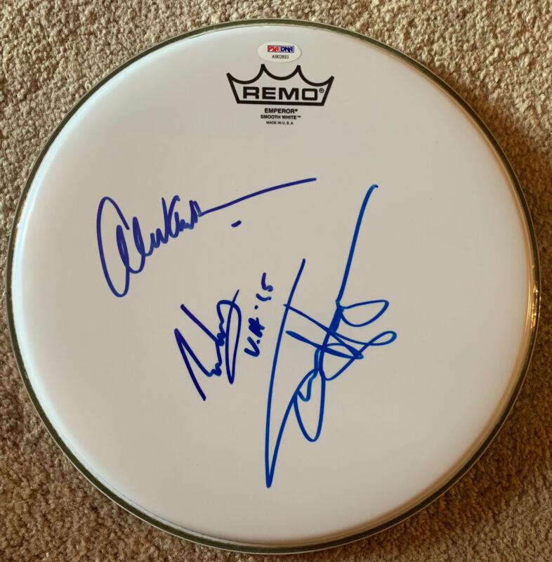 """Van Halen Band Signed Autographed 12"""" Drumhead PSA Certified Eddie Alex & Sammy"""