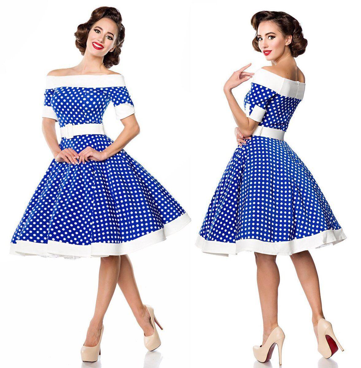 Schulterfreies Swing-Kleid Retrokleid Tellerrock kurze Ärmel 50er-Jahre 50051