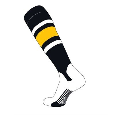 TCK Elite Baseball Knee High Stirrup Socks (E, 5in) Black, White, Gold](Mens Baseball Stirrups)
