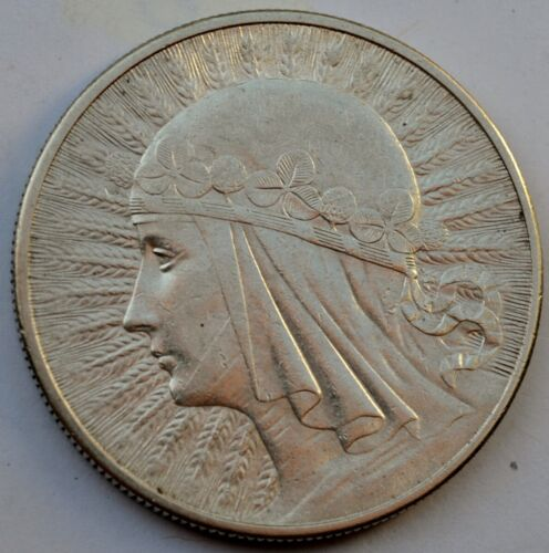 10 Zlotych Silver coin, Queen Jadwiga 1932 London Mint, no mint mark