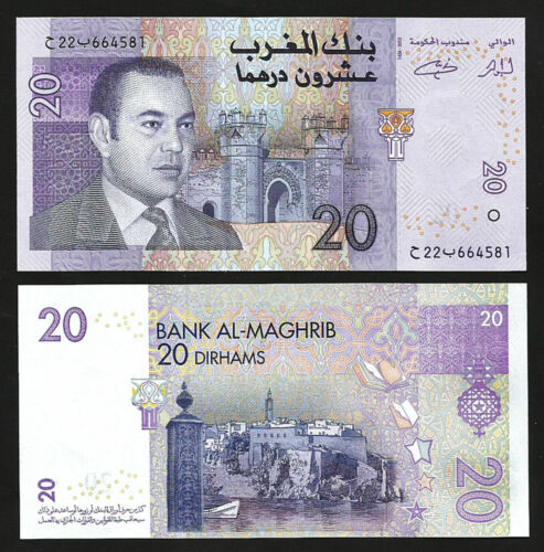 100% Original Morocco 20 Dirhams 2012 P-68 , Ah 1426