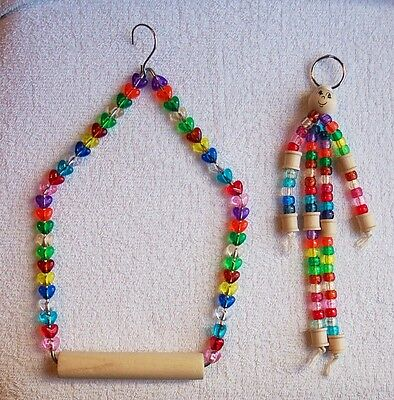 Heart Beaded Swing and Bead-man for Cockatiels, Small Parrots Bird - Heart Swing