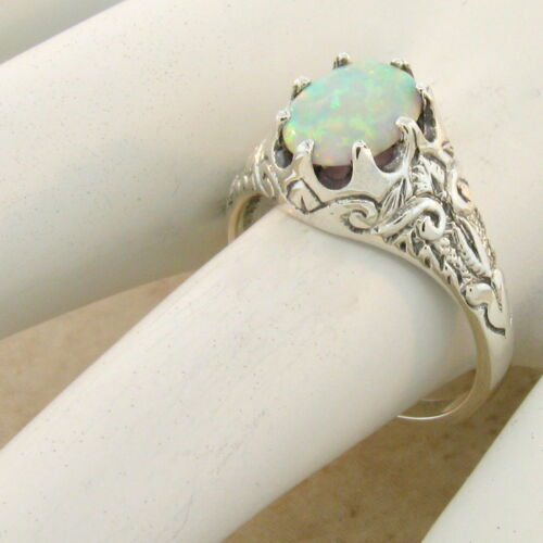 VICTORIAN ANTIQUE STYLE 925 STERLING SILVER WHITE LAB OPAL RING SIZE 8     #1002