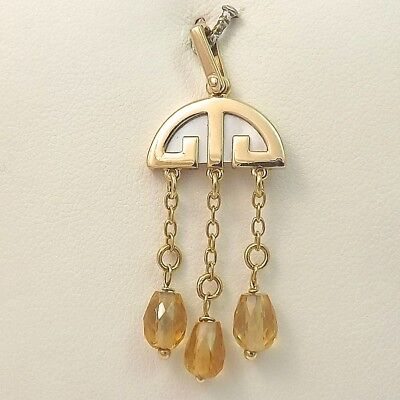 (NEW 14K Gold Mother of Pearl Citrine Briolette Dangles Charm Pendant 3gr)