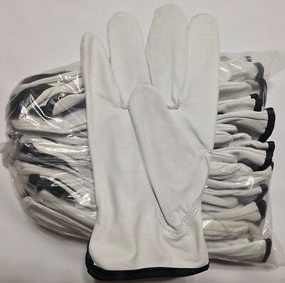 12 Pair Pack Goat Skin Grain Leather Drivers Work Safety Gloves Ppe Size S