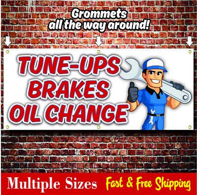 Oil Change Banner Sign Muffler Repair Tune Ups Brakes Tire Sale 06 Red