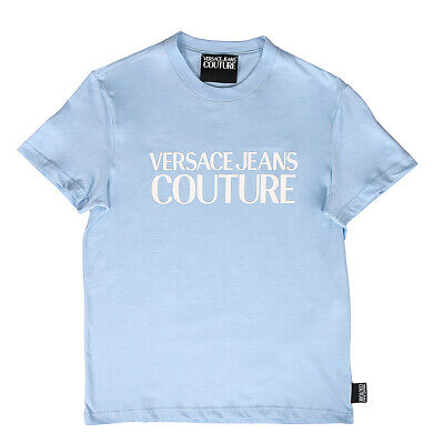 Versace Jeans Couture Light Blue 100% Cotton Oversized Logo Short Sleeve