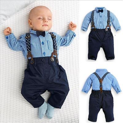 (2PCS Newborn Kids Baby Boys T-shirt Tops+Bib Pants Overalls Clothes Outfits Sets)