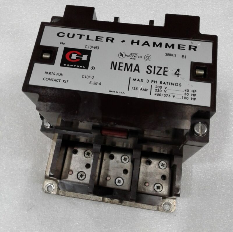 Cutler Hammer C10FN3 Size 4 Magnetic Contactor 135A 120V Coil 3PH Used