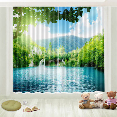 Lake Forest Scenic 3D Photo Printing Window Curtains Mural Blockout Draps Fabric