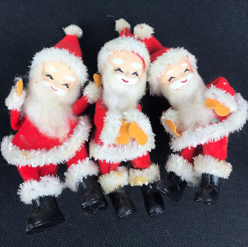 Vintage Paper Mache/Felt Santa Christmas Ornaments Decorations Lot 3
