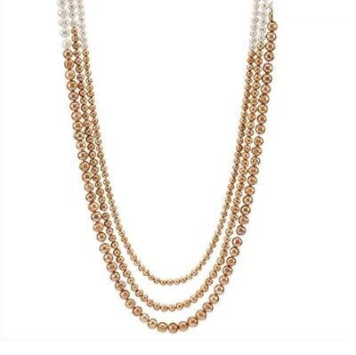 Ivory and Gold Pearl Necklace by Lenox Three Strand 43