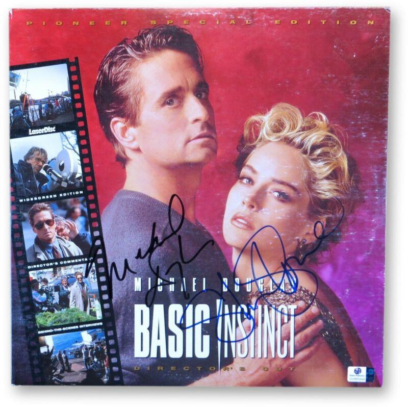 Michael Douglas Sharon Stone Signed Laserdisc Cover Basic Instinct JSA U16589