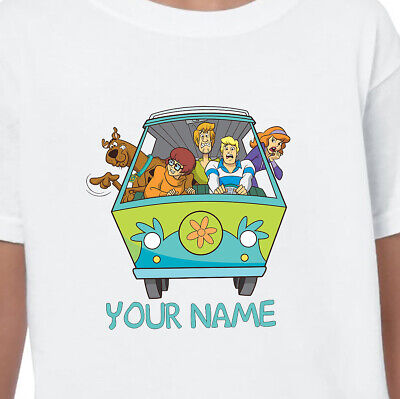 Scooby Doo Gang Personalised Name T-shirt Printed Kids, Birthdays, Gifts
