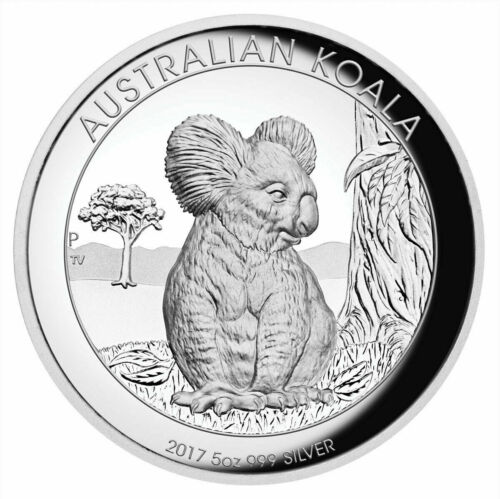 2017 Australia $8 High Relief Koala Proof 5 oz .9999 Silver Coin Box & COA