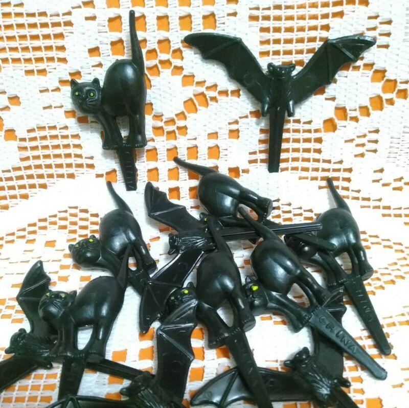 12 Halloween Black Cat Bat Cupcake Picks Toppers Plastic Decorations Crafts
