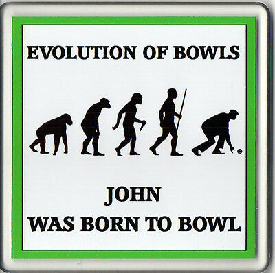 Personalised MALE Bowls Acrylic Drink Coaster Evolution of Bowls Lawn Indoor NEW
